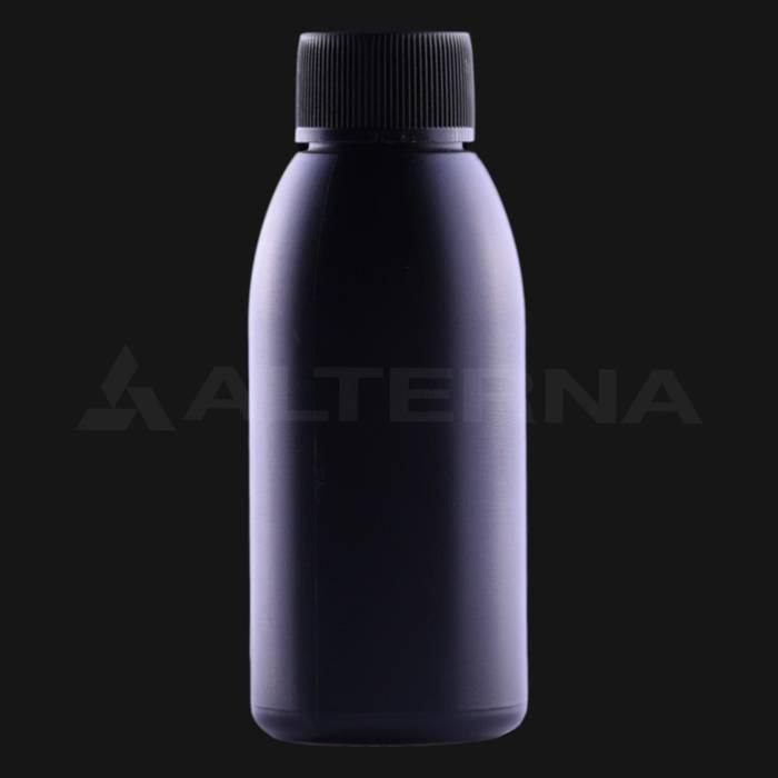 100 ml Plastik Siyah Şişe 24 mm Contalı Düz Kapaklı